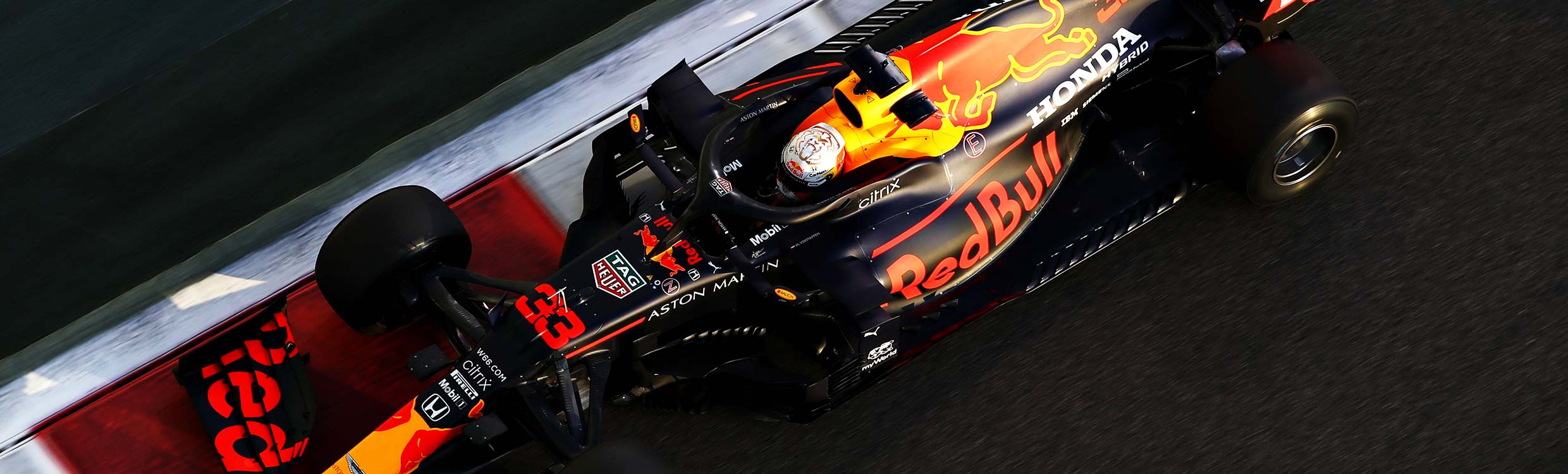 A top down view of a Red Bull Racing formula 1 car during a grand prix