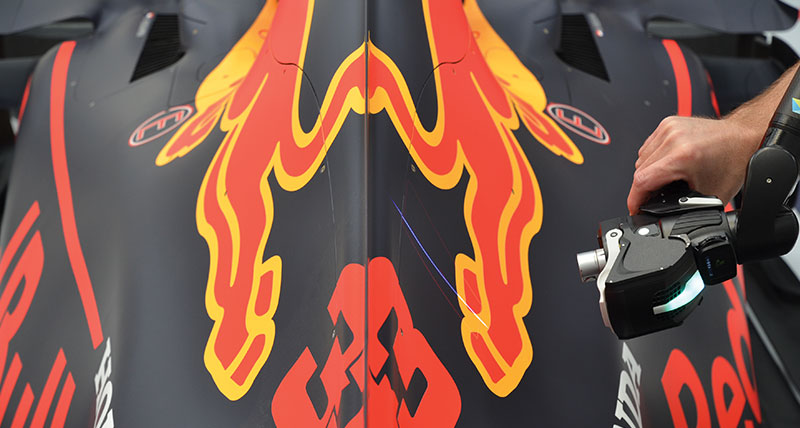 RS6-Laser-Scanner-scanning-Rear-of-F1-car-body-at-Red-Bull-Racing