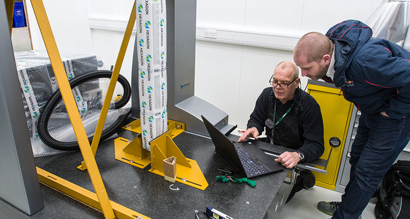 A Coordinate Measuring Machine being installed at Red Bull Racing Formula 1 team