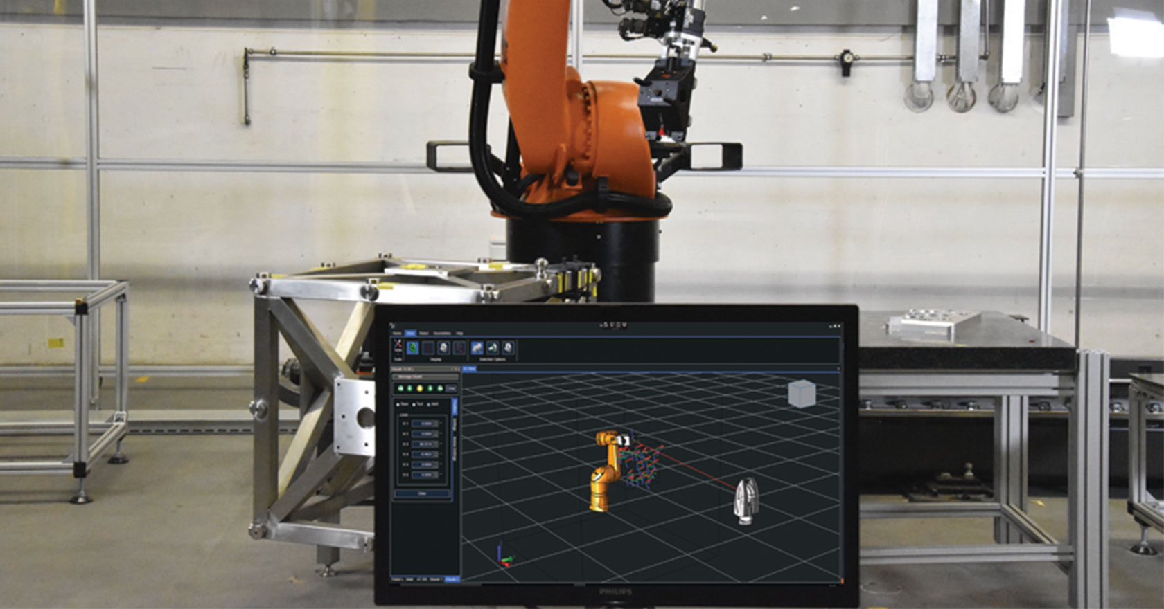 Full Simulation, Calibration and ISO 9283 Performance Testing for Industrial Robotics