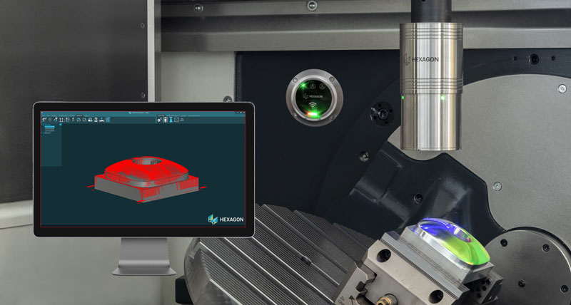 A wireless laser scanner on a machine tool. In the foreground there is a screen which shows the item that has been scanned using metrology software.