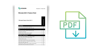 A thumbnail of a document which contains a feature chart with an icon of a page with PDF and an arrow to show there is a downloadable item