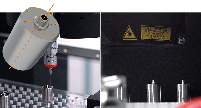 An image split in two to show Abutment_Blanks. On the left side is a touch trigger probe inspecting the blank on the right is a close up of the blank with a yellow warning sticker behind it