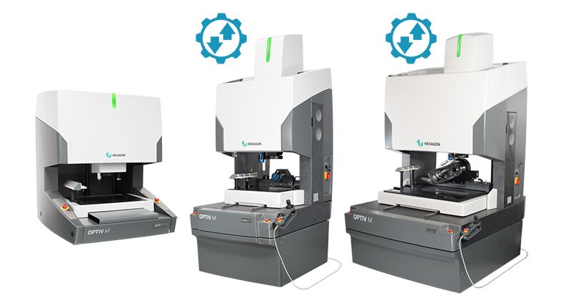 Hexagon's Multisensor CMMs Family showing three different machines on a white background with an icon which is a cog with arrows inside to represent compatibility with DUAL Z technology.