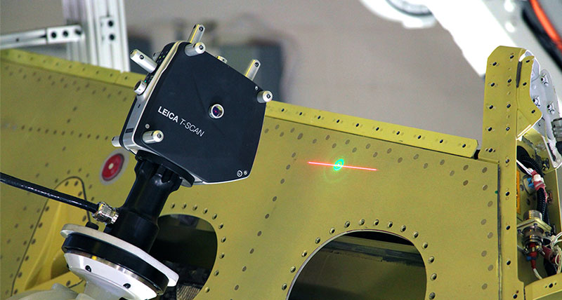 Laser Scanner inspection jet wing on robotic arm