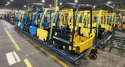 Production floor at Hyster-Yale in Craigavon, Northern Ireland