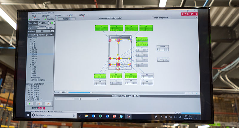 A monitor showing the results of an inspection routine using metrology software