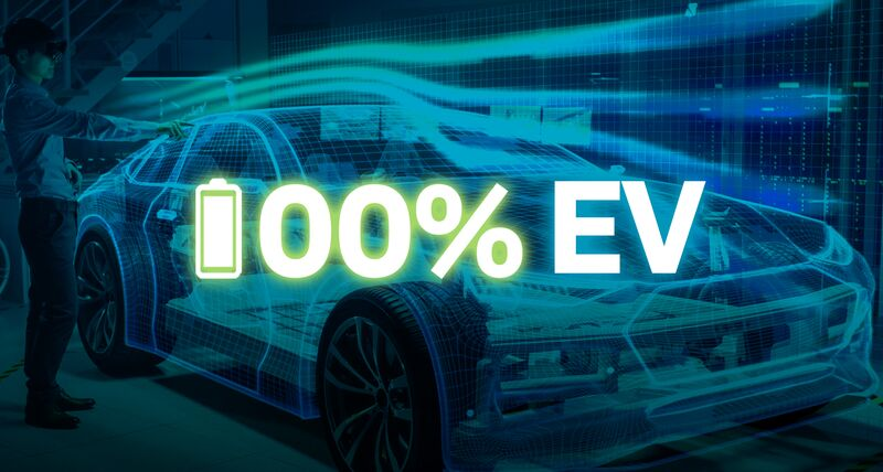 An electric vehicle representing Hexagon's vision to help manufacturers reach goals of 100% EV