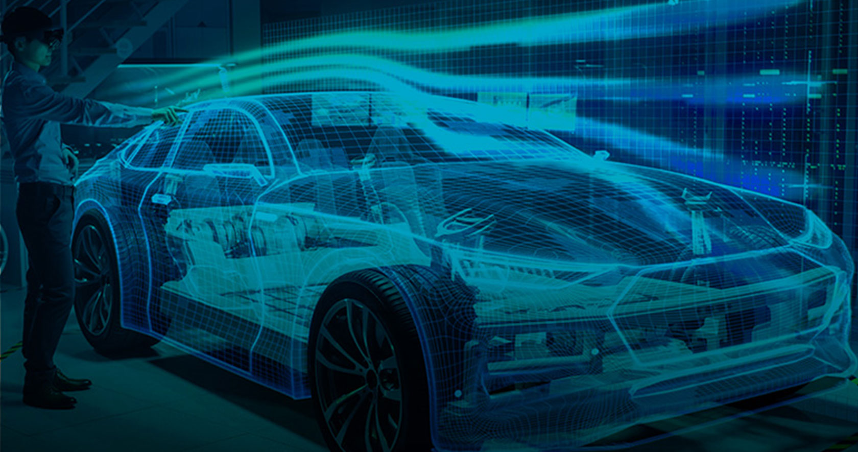 An electric vehicles render with 100%EV overlaid on the image representing the push to electric vehicles