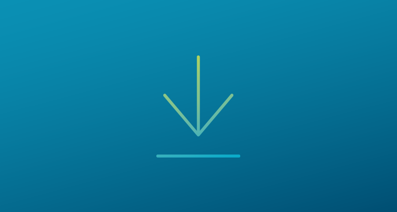 An arrow pointing down representing a downloadable item on a blue gradient background