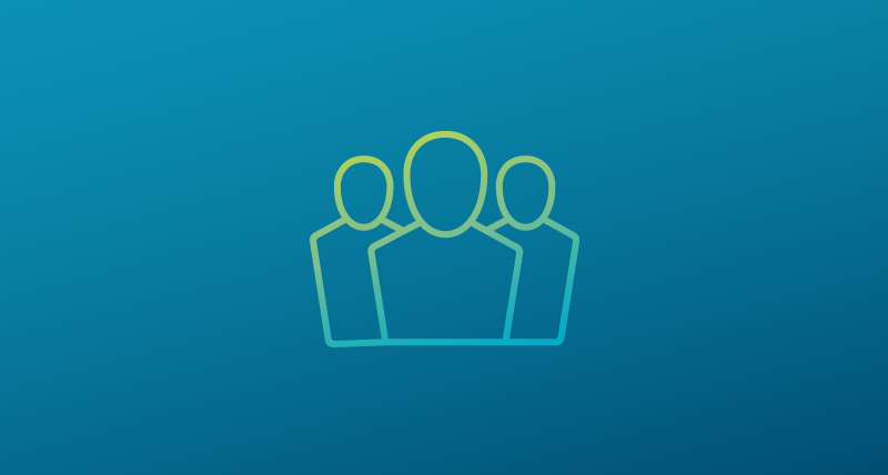 Silhouettes of 3 people representing community on a blue gradient backgound